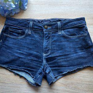 Paige Monica Kyra Jeans Shorts Raw Hem Dark Wash